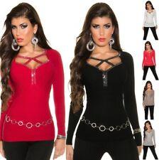 Women's Cut-Out Neckline & Rhinestone Sweater Pullover Top - OSFM (S/M/L)