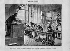 Stampa antica LEZIONE DI DISEGNO aula scolastica scuola 1875 Old Print