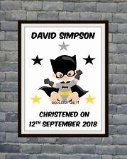 Batman Baby Personalised Word Art Print Christening, New Baby Superhero