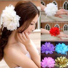 Haargummi Blume Brosche Brautschmuck Satinblume Feder Haarschmuck Textilblume