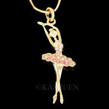 Pink Ballerina made with Swarovski Crystal Ballet Dancer The Nutcracker Necklace