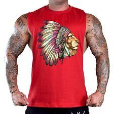 Men's Lion Indian Headdress Red T-Shirt Tank Top Gym Workout Native Tribal Tee