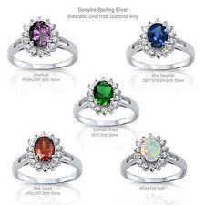 Ovale Aureola Diamanti Finti Originale Anello Argento Sterling