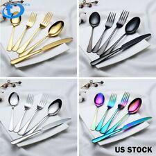 5/20/40/60Pcs Set Stainless Steel Dinnerware Dinner Knife Fork Spoon Flatware US