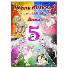 c051; Large Personalised Birthday card; Custom made for any name; Unicorns Pink