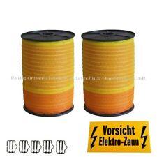 Weidezaunband 10 mm/20mm Länge u.Breite wählbar,Elekto-Weidezaun,gelb-orange