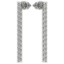 VVS1 E 0.50Ct Real Diamond Dangle Chandelier Earring 14K Solid White Gold 1.90mm