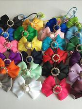 "2"" Pair Handmade Grosgrain Ribbon Party/Summer Bow with Buckle Hair Bobbles"