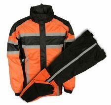 Men's Motorcycle 2 pc Riding blk Orange biker waterproof raingear rainsuit New