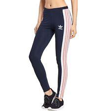 adidas Originals Womens Taoe Tape Elasticated Active Gym Pants Leggings - Navy