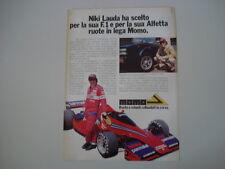 advertising Pubblicità 1978 MOMO e NIKI LAUDA