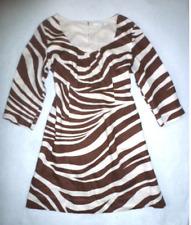 BODEN Brown ZEBRA Animal Print 100% LINEN KAFTAN TUNIC TEA DRESS US 6 & 8