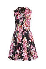 donna rosa e nero stampa floreale anni 50 rockabilly retro vintage svasato abito