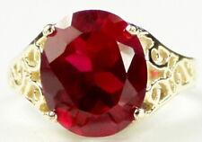 • R057, Created Ruby, 10k Yellow Gold Ladies Ring - Handmade