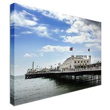 Brighton Palacio Pier Con Impresión De Pared Lienzo Arte Barato banderas Casa Interior