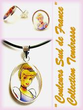 Parure de bijoux pendentif boucles d'oreilles enfant argent Princesse Cendrillon