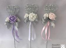 PINK Wedding Flowers Ivory Rose Bouquet, Bride, Bridesmaids,flower -Girl wands