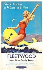 Vintage  British Rail Fleetwood Lancashire's Family Resort Poster A3 Print