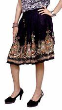 Rayon Embroidered Boho Hippie Tribal Sequin Work Elastic Waist Short Skirt