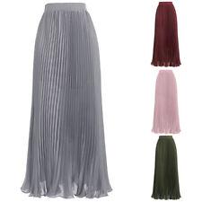 2017 Fashion Metallic Shinny Elastic High Waist Pleated Swing Maxi Long Skirt