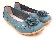 WOMENS Full Leather Light Blue Ballet Flats Flower Nodule Walk Dress Jeans SHOES