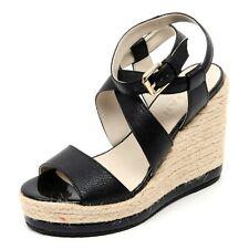 B0640 sandalo donna HOGAN zeppa yuta nero shoe sandal woman