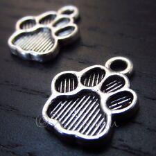 Animal Paw Print Wholesale Silver Plated Charm Pendants C8943 - 10, 20 Or 50PCs