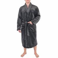 Hudson Home Collection Mens Shawl Collar Plush Robe, Charcoal