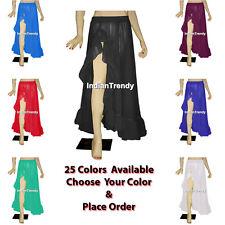 25 Color Ruffle Border Slit Skirt Belly Dance Costume Boho Gypsy Flamenco Tiered