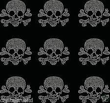 9x Small Filled Skull Iron On Rhinestone Transfer Crystal t-shirt applique