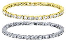 Tennis Bracelet White Yellow 18k Gold Plated 4 mm Diamonique CZ 10-14 ct 3 sz