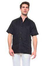 Mens Black Guayabera Shirt Mojito 100% Linen with Four Pockets Sizes S to 2XL