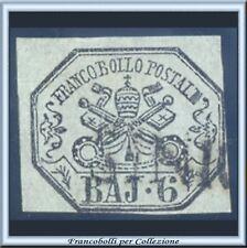 Antichi Stati Italiani 1852 Pontificio 6 baj n. 7 Usato