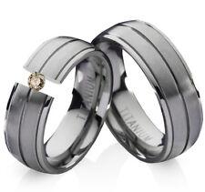 2 Eheringe Trauringe mit echtem Diamant Verlobungsringe aus Titan Gravur TLB2