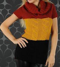 SeXy Miss Damen Long Pulli Kurzarm Pullover Rolli rot/senf/schwarz 34/36 36/38