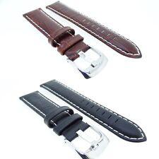 Original De Cuero Acolchado Cocodrilo reloj banda correa Negro o marrón 18,20,22,24 mm
