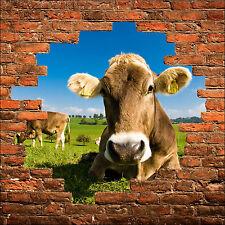 Sticker mural trompe l'oeil Vache réf 827