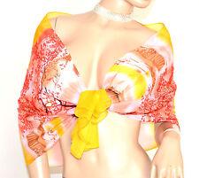 STOLA donna GIALLA ROSSO CORALLO foulard cerimonia coprispalle seta velata H25