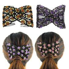 Double peigne à cheveux en cristal Elasticité clip extensible peignes coiffure