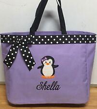 Personalized Baby Diaper Bag Tote Monogrammed Penguin Girl