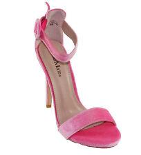 BellaMarie Women's Krush-10 Velvet Open toe Ankle Strap High Heel Sandals