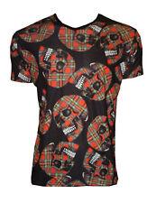 UOMO UNICO ROSSO SCOZZESE TESCHI stampa t-shirt top gotico punk emo