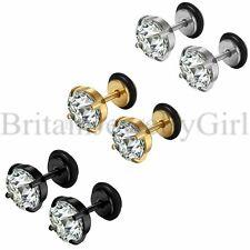 Fashion Stainless Steel Mens Ladies White Cubic Zirconia Pierced Stud Earrings
