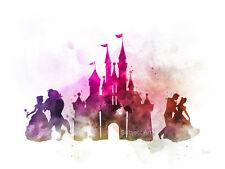 Impresión De Arte Castillo de Disney, La Bella Y La Bestia, Cenicienta Ilustración, Pared Arte