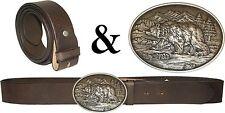 Trachten Wechselgürtel Ledergürtel braun-antik  mit Buckle BÄR