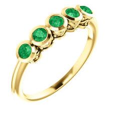 Genuine Emeralds Round Cut Gems Bezel Set 5 Stone Ring 14K. Yellow or White Gold