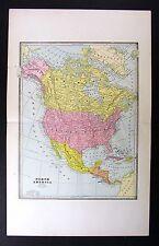 1883 Cram Map North America United States Canada Mexico