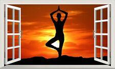 Yoga Mind and Body Fitness 3D Magic Window Adhesive Vinyl Wall Art Sticker V4*