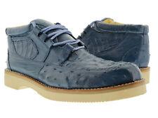 Mens El Presidente Blue Genuine Crocodile Ostrich Skin Casual Exotic Shoes Rodeo