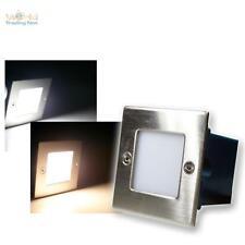LED Wandeinbaustrahler Boden-Einbauleuchte eckig Edelstahl 230V Stufenlicht